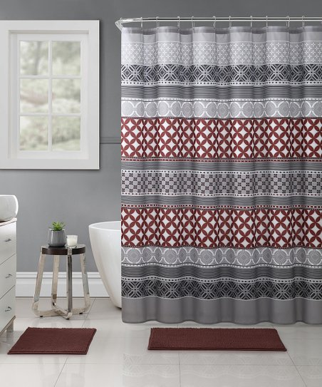 Gray Hawthorne Embossed 15 Piece Shower Curtain Rug Set