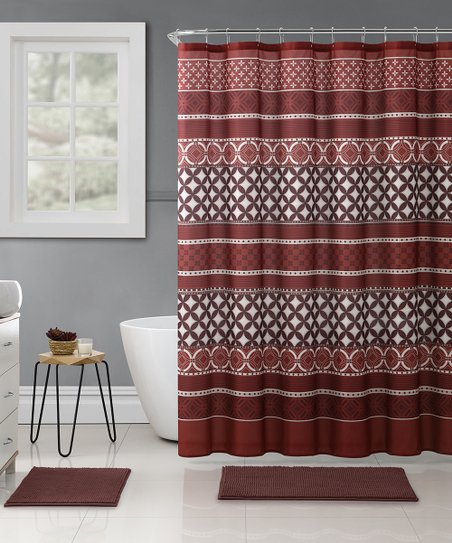 Burgundy Hawthorne Embossed 15 Piece Shower Curtain Rug Set