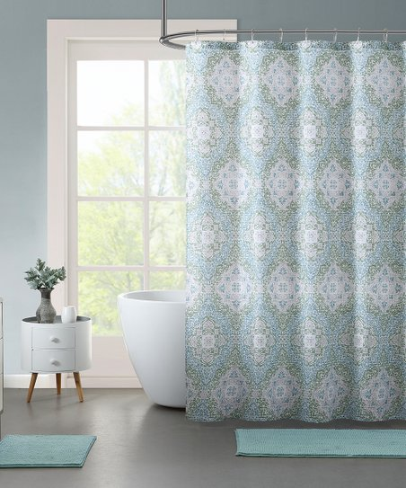 Light Blue Karson 15 Piece Shower Curtain Noodle Rug Set