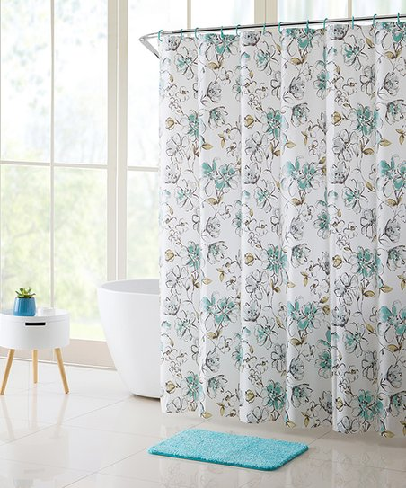 Aqua Delilah 14 Piece Shower Curtain Rug Set