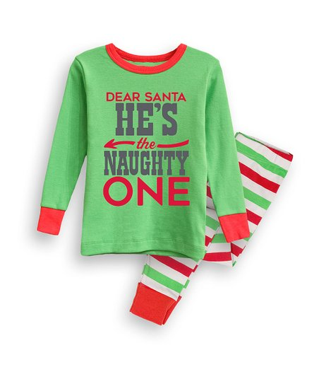 589a56f21 Nap Chat Family Green & Red Stripe Hes the Naughty One Jogger Pajama ...