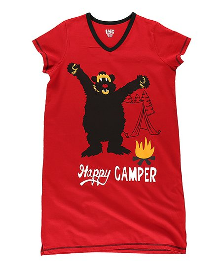 love this product Red  Happy Camper  V-Neck Nightshirt - Women 856cdcf2b