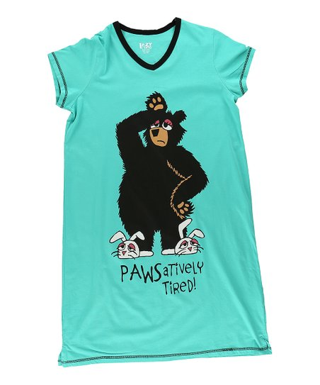 love this product Teal  Pawsitively Tired  V-Neck Nightshirt - Women 5a10461ad