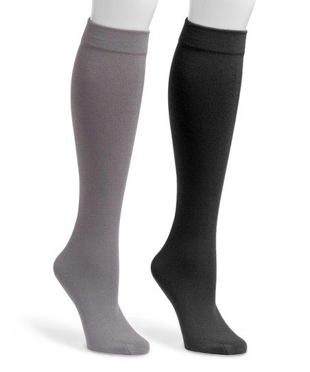 ef91db7c110 love this product Black   Dark Gray Fleece-Lined Knee-High Socks Set - Women