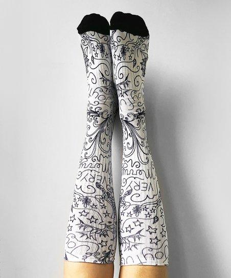 f9a966c94 love this product White   Black Joyful Reindeer Knee-High Socks