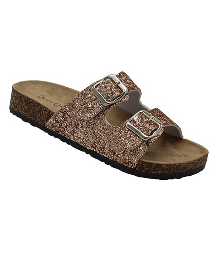 366a134b8772 love this product Rose Gold Glitter Kylie Footbed Sandal - Women