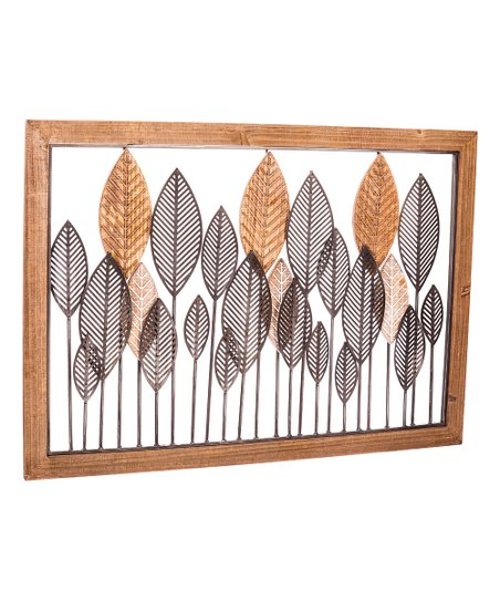 Leaf Metal Wood Wall Art