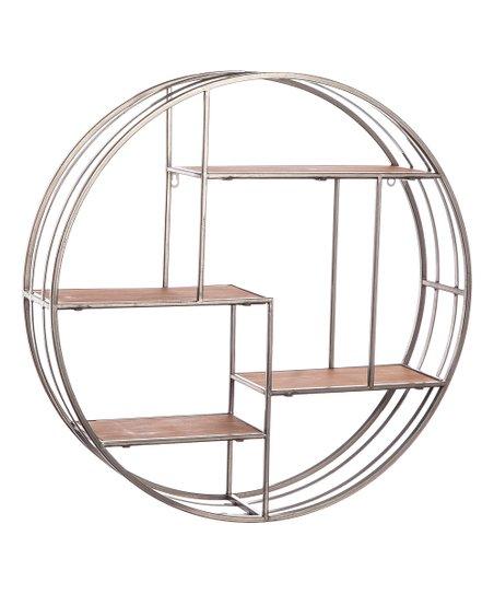 Cypress Home Round Metal Wood Hanging Shelf