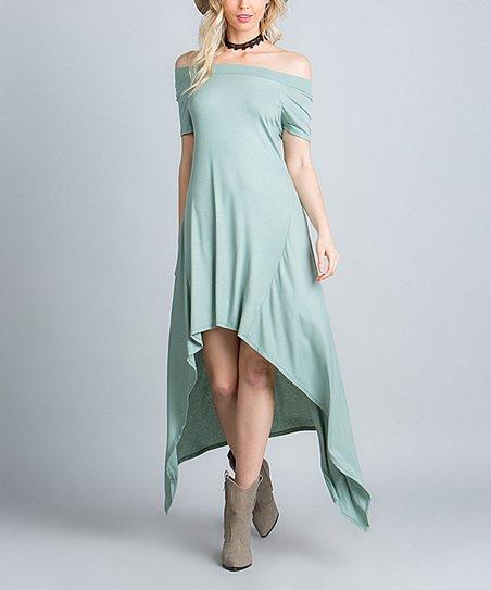 b3c15e0b4870 Rae Mode Fashion Moss Green Hi-Low Off-Shoulder Maxi Dress - Women ...