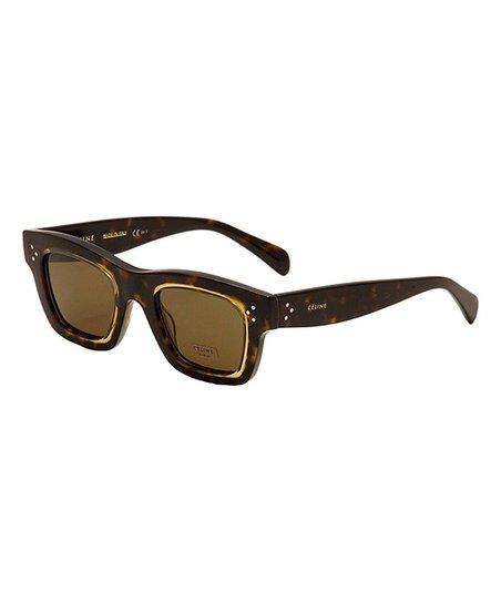 afa5b319e23b Celine Dark Havana, Brown & Gold Square Sunglasses | Zulily