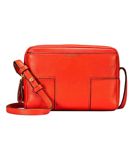 3185704d9e92 love this product Spicy Orange Block-T Double-Zip Leather Crossbody Bag