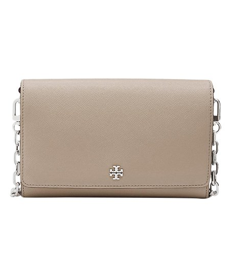 e1f5bb7eab00 Tory Burch French Gray Robinson Leather Wallet Crossbody Bag