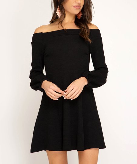 0d64f50b2a8 love this product Black Long-Sleeve Off-Shoulder Dress - Women