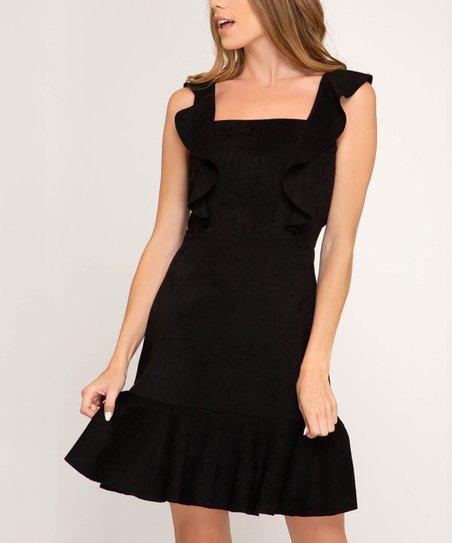 Black Ruffle Strap Sleeveless Dress   Women by Zulily