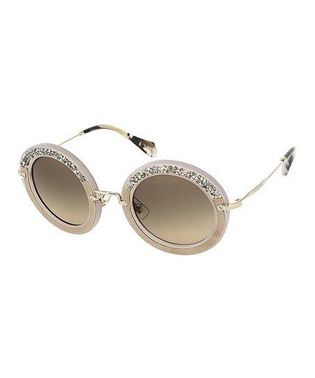 ff6a247075 Miu Miu Brown   Gold Glitter Round Sunglasses