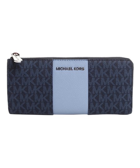 michael kors admiral pale blue center stripe large leather wallet rh zulily com