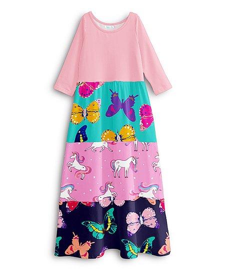 efd747a52e09 Emma   Elsa Pink   Navy Unicorn Tier-Skirt Maxi Dress - Girls