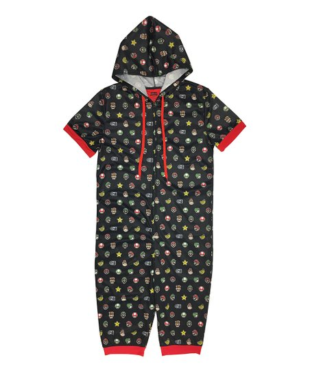 6db1a17d128 love this product Mario Black   Red Icons Hooded One-Piece Pajama - Men