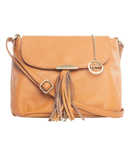 Cognac Tassel Leather Messenger Bag