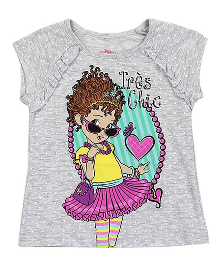 0c23b58dd love this product Fancy Nancy Gray Polka Dot 'Très Chic' Ruffle-Accent Tee  - Toddler