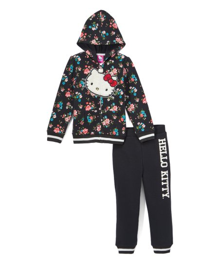 33a61c788 Hello Kitty Black Floral Fleece Zip-Up Hoodie & Joggers - Girls