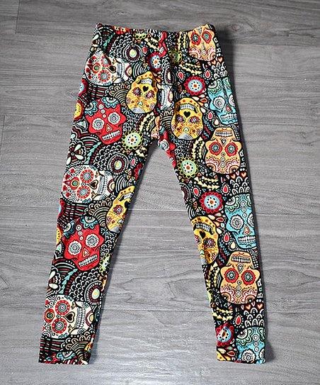 4f85573e2a21c Beary Basics Black & Red Sugar Skull Leggings - Toddler & Girls | Zulily