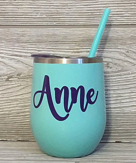 Say It Sassy Mint Personalized Wine Tumbler Straw