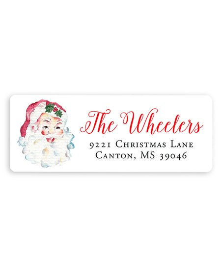 chickabug watercolor vintage santa personalized address labels set