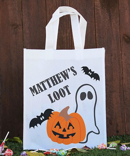Halloween Trick Or Treat Bags Personalized.Stamp Out White Halloween Personalized Trick Or Treat Bag