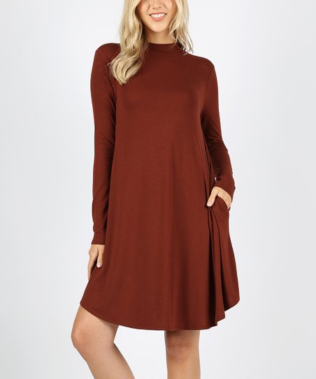 26bf580140eb Zenana Fired Brick Long Sleeve Swing Dress - Women   Plus