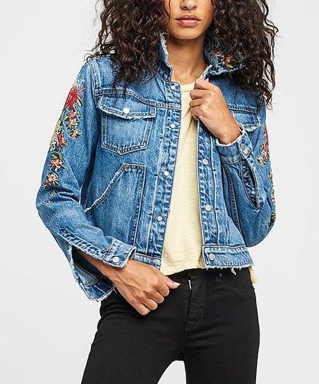 love this product Medium Wash Ren Floral-Embroidered Denim Jacket - Women 68e9d7d8a
