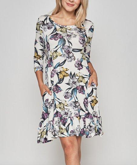love this product Ivory   Blue Floral Side-Pocket Dress - Women 85d3e4e36a