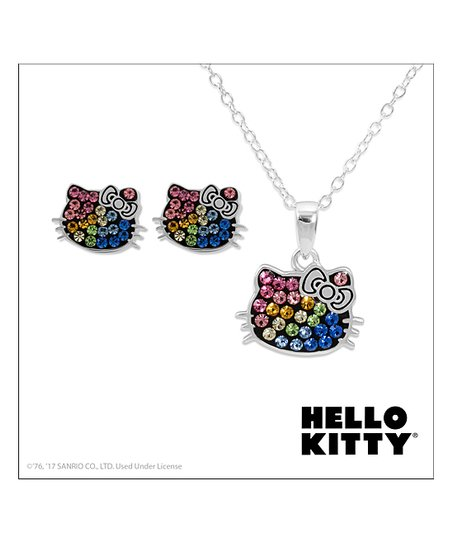 19821bc34 love this product Hello Kitty Silver-Plated Stud Earrings & Pendant Necklace