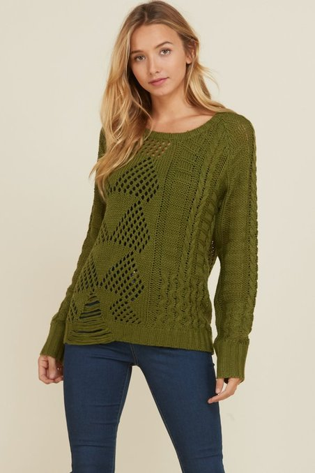 34f4ae377e83 Annabelle USA Hunter Green Open-Knit Sweater - Women