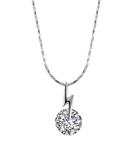 d3b800dc768 love this product Silvertone Lightning Solitaire Pendant Necklace With  Swarovski® Crystals