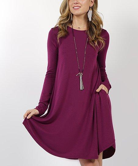 f7dfb8b5f8a love this product Plum Curved-Hem Scoop Neck Pocket Tunic Dress - Women