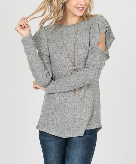 89e3d79727d0df i ivy Heather Gray Ruffle Cutout Sweater - Women | Zulily