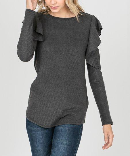 71960fe007ba85 i ivy Charcoal Ruffle Cutout Sweater - Women | Zulily