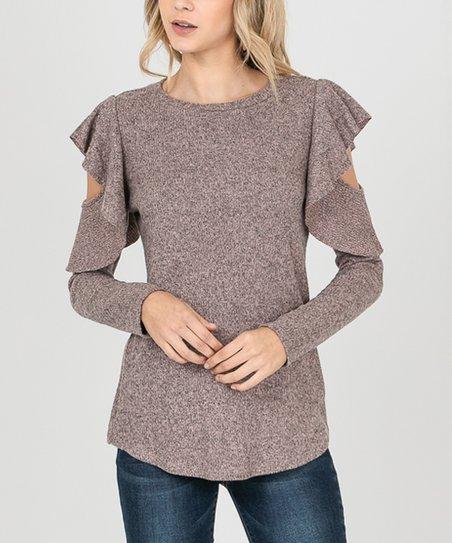 dc1a998017e2b6 love this product Rose Ruffle Cutout Sweater - Women