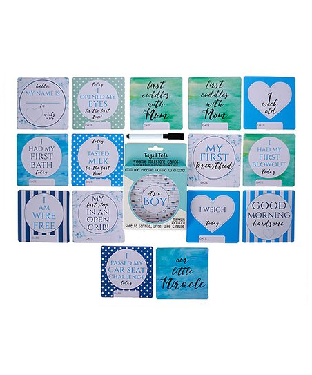 Boy Preemie NICU Milestone Cards