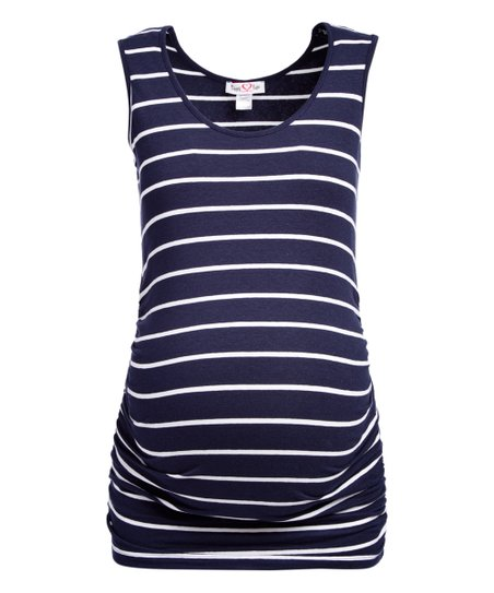 6bc08b1d22902 love this product Navy & White Stripe Maternity Scoop Neck Tank - Plus