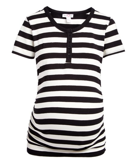 9df802c18f9b8 love this product Off-White & Black Stripe Maternity Button-Front Tee -  Plus Too