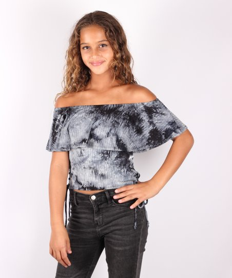 171989f9b3f94 love this product Black   Gray Tie-Dye Off-Shoulder Top - Girls