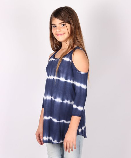 be7b4e39aa7cad love this product Blue   White Tie-Dye Stripe Cold-Shoulder Top - Girls