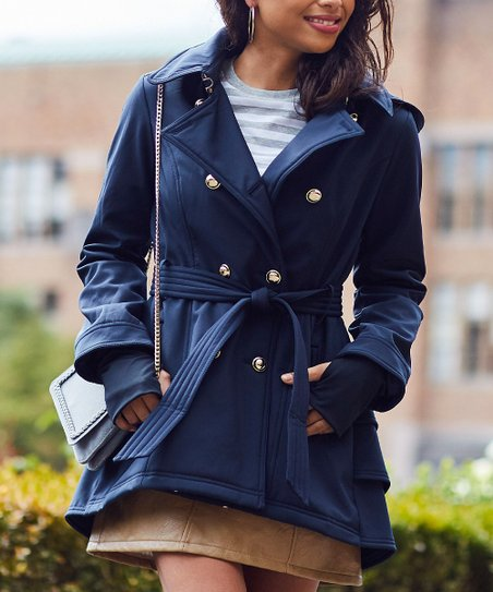 Jessica Simpson Collection Navy Hooded Trench Coat Women