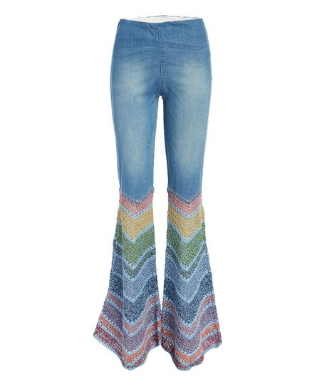 well known on feet at cheap for sale Judith March Light Blue Denim Chevron Flare Pants - Women