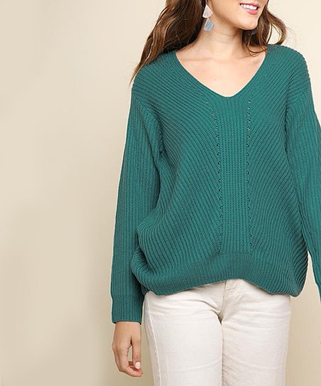love this product Teal Ribbed V-Neck Pullover Sweater - Women 788c70cfd