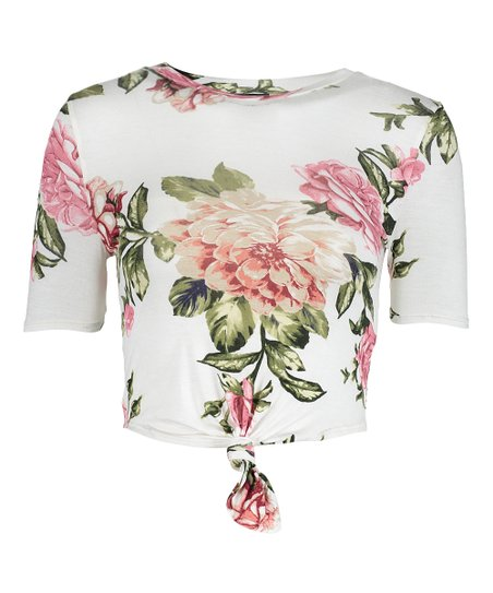 Popular Basics White Floral Tie Waist Crop Top Women Zulily