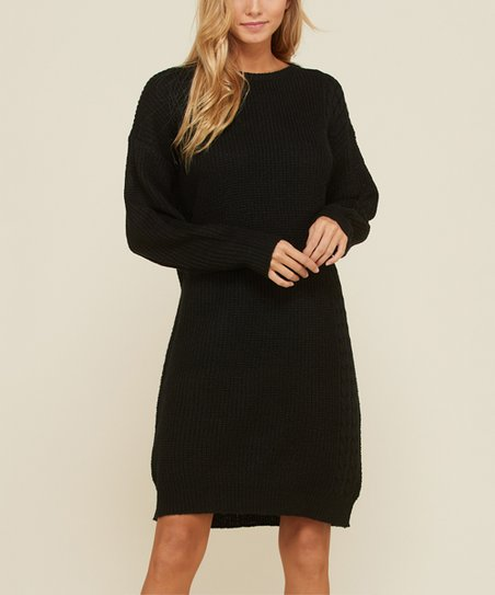 4142ac739b78 Annabelle USA Black Cable-Knit Sweater Dress | Zulily