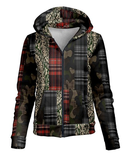 love this product Black   Red Patchwork Plaid Fleece-Lined Hoodie - Women f4e6990dce